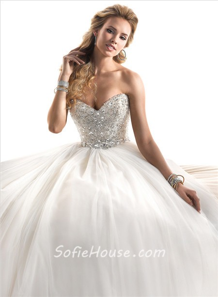 Fairytale ball gown sweetheart tulle wedding dress with for Fairytale ball gown wedding dresses