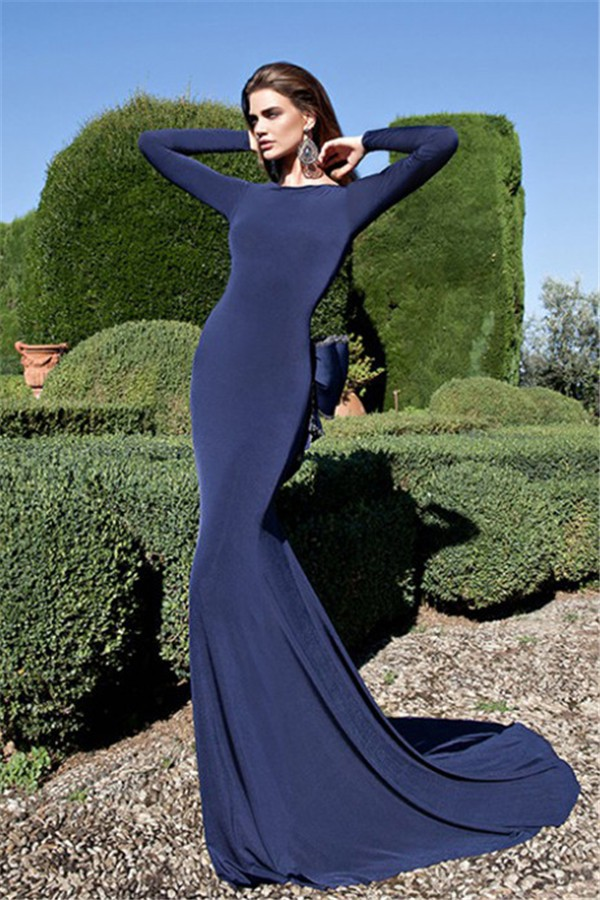 Fantastic Backless Long Sleeve Navy Jersey Evening Prom