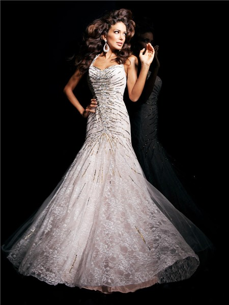 Mermaid Straps Backless Long Lace Beading Sequins Evening Prom Dress