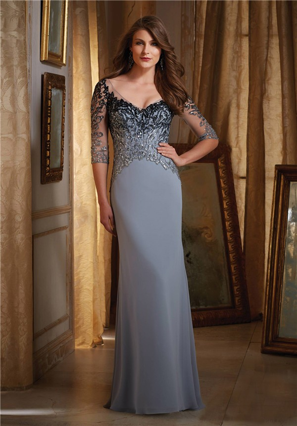 4a07fdbe73eb Fantastic V Neck Illusion Back Silver Chiffon Ombre Beading Evening Dress  With Sleeves