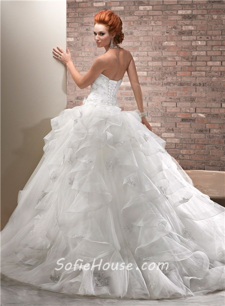 Fantasy ball gown sweetheart tulle organza ruffle big for A big wedding dress