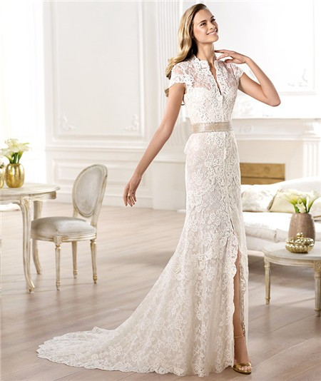 A Line High Neck Cap Sleeve Lace Wedding Dress With Slit Sash Bow