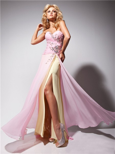 Fashion Couture Sweetheart Long Pink Gold Chiffon Prom