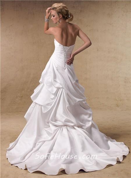 Fashion high low a line sweetheart satin wedding dress for A line skirt wedding dress