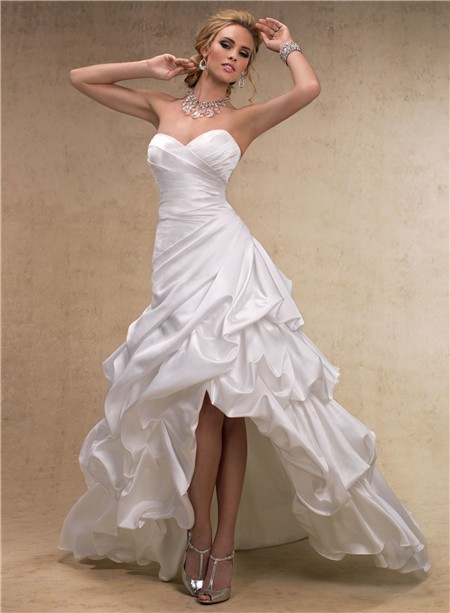 Fashion high low a line sweetheart satin wedding dress for High low sweetheart wedding dress