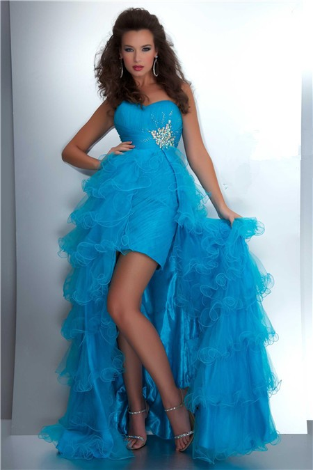 Fashion High Low Hem Sweetheart Turquoise Blue Tulle