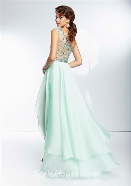 Fashion High Low One Shoulder Sheer Back Mint Green Organza Beaded ...
