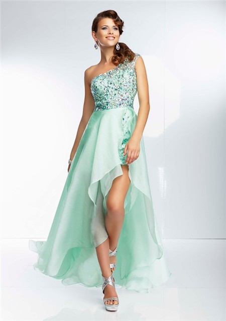 High Low One Shoulder Sheer Back Mint Green Organza Beaded Prom Dress