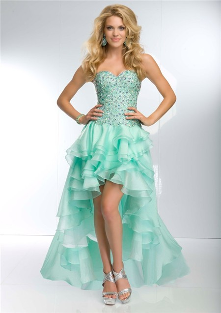 High Low Sweetheart Neckline Mint Green Organza Ruffle Beaded Prom ...
