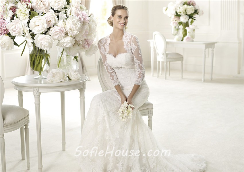 Fashion Mermaid Sweetheart Empire Waist Lace Wedding Dress With Long ...