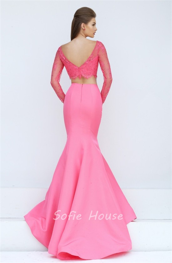Melon with Pink Tulle Prom Dresses