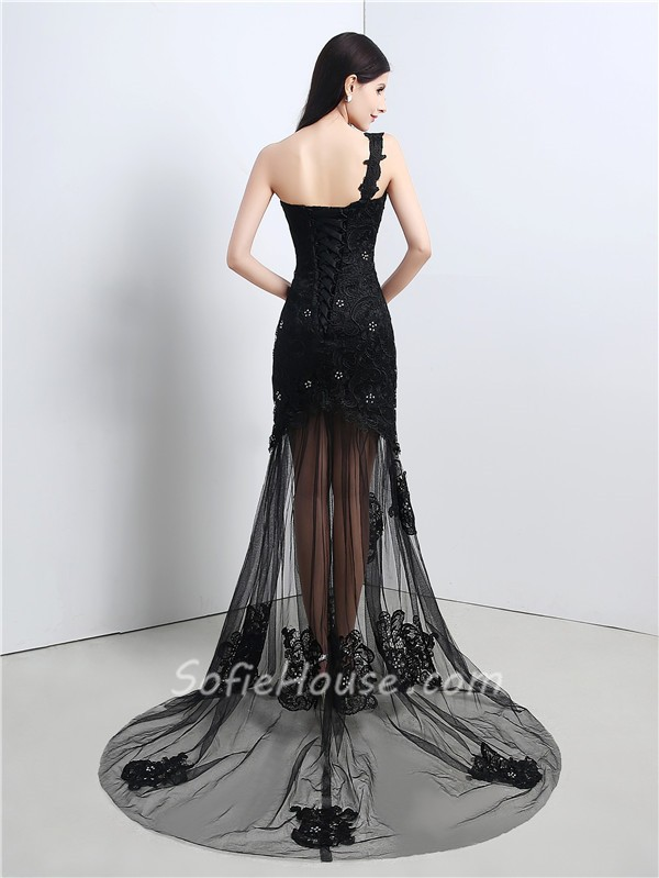 Fashion One Shoulder Long Black Tulle Lace Beaded Prom Dress