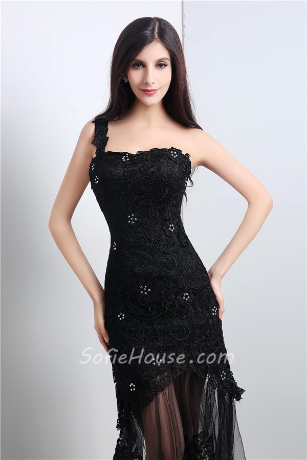 12634e5ff636 Fashion One Shoulder Long Black Tulle Lace Beaded Prom Dress