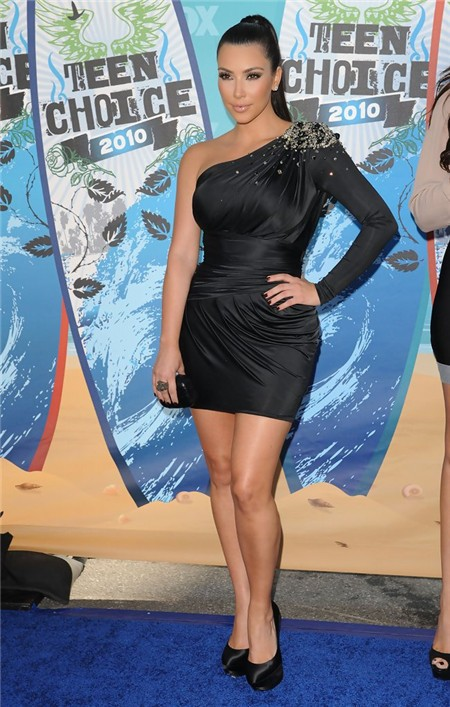 Fashion One Sleeve Short Mini Kim Kardashian Black Dress With Crystals