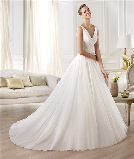 Fashion simple a line princess v neck chiffon organza for V neck a line wedding dresses