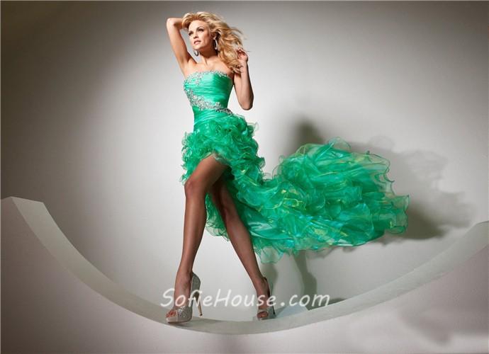 Fashion Strapless High Low Emerald Green Organza Prom