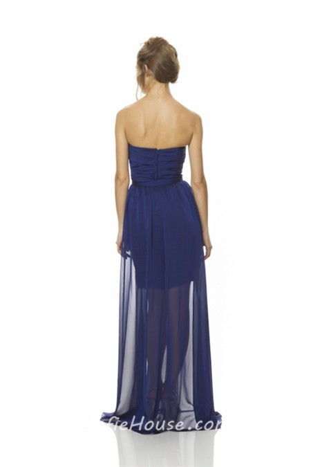 Fashion Strapless Short Midnight Blue Chiffon Pleated