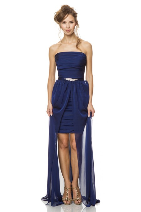 Strapless Short Midnight Blue Chiffon Pleated Party Bridesmaid ...