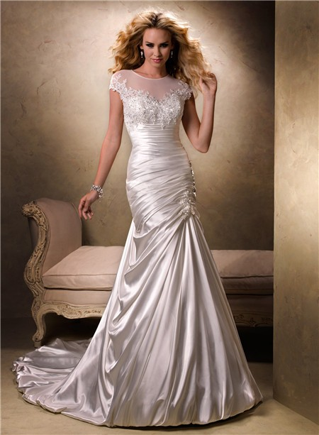 Fit and flare a line illusion neckline cap sleeve satin for A line illusion neckline wedding dress
