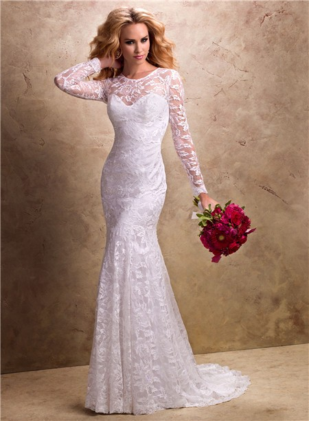 And flare mermaid illusion neckline long sleeve lace wedding dress fit and flare mermaid illusion neckline long sleeve lace wedding dress junglespirit Images