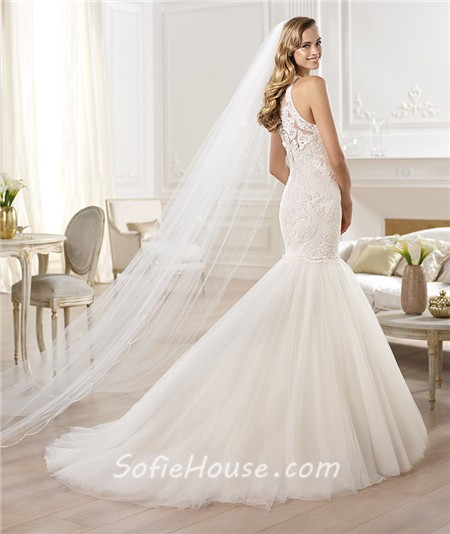 Fit and flare mermaid scoop neck sleeveless lace tulle for Fit and flare tulle wedding dress
