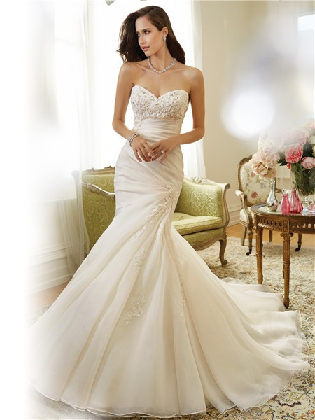 Fit And Flare Mermaid Strapless Asymmetrically D Organza Lace Wedding Dress Corset Back