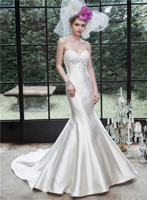 And Flare Mermaid Strapless Ivory Satin Applique Corset Wedding Dress