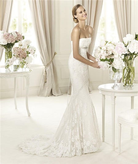 And Flare Mermaid Strapless Lace Wedding Dress With Crystal Sash ...