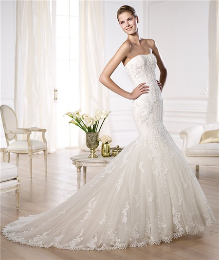 Fit And Flare Wedding Dresses: Fit And Flare Mermaid Strapless Tulle Lace Wedding Dress