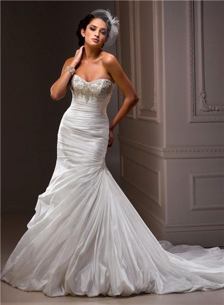 Fit and flare mermaid sweetheart beaded crystal taffeta for Taffeta mermaid wedding dress