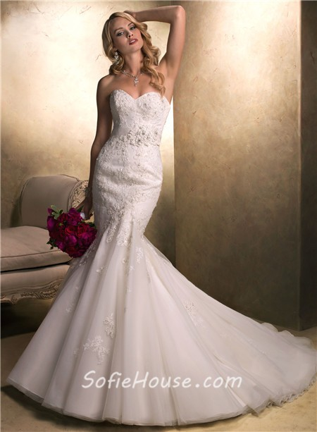 Fit and flare mermaid sweetheart beaded lace organza for Beaded lace mermaid wedding dress