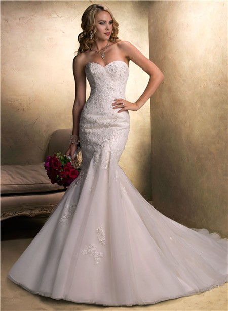And Flare Mermaid Sweetheart Beaded Lace Organza Wedding Dress With Sash