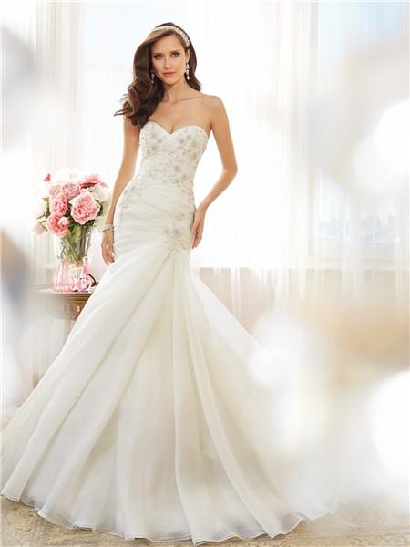 Fit And Flare Mermaid Sweetheart Draped Organza Crystal Wedding ...