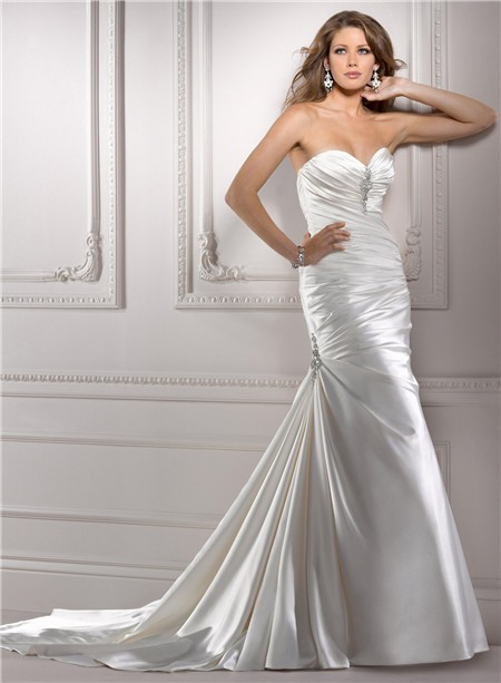 Fit and flare mermaid sweetheart ruched satin wedding for Satin sweetheart mermaid wedding dress