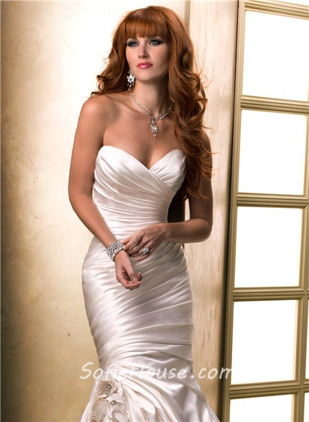 Fit And Flare Mermaid Sweetheart Ruched Satin Wedding