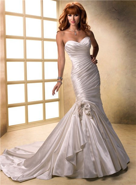 fit and flare mermaid sweetheart ruched satin wedding On fit and flare ruched wedding dress