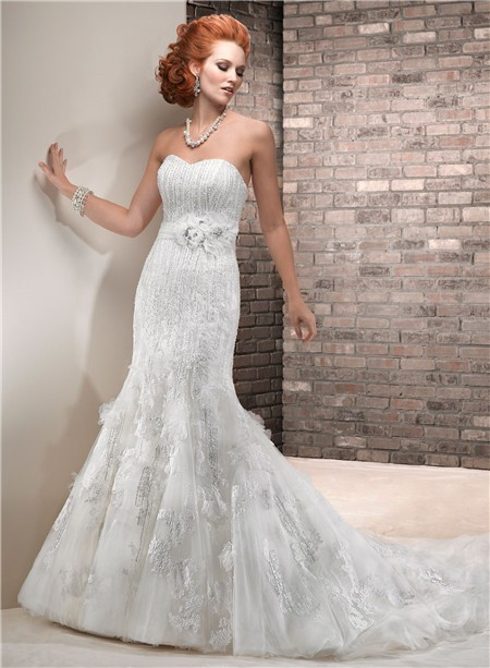 Fit and flare mermaid sweetheart vintage lace beaded for Lace fit flare wedding dress