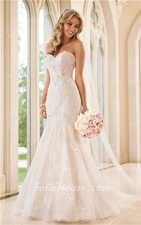 Fit And Flare Strapless Sweetheart Lace Beaded Wedding Dress With Ons