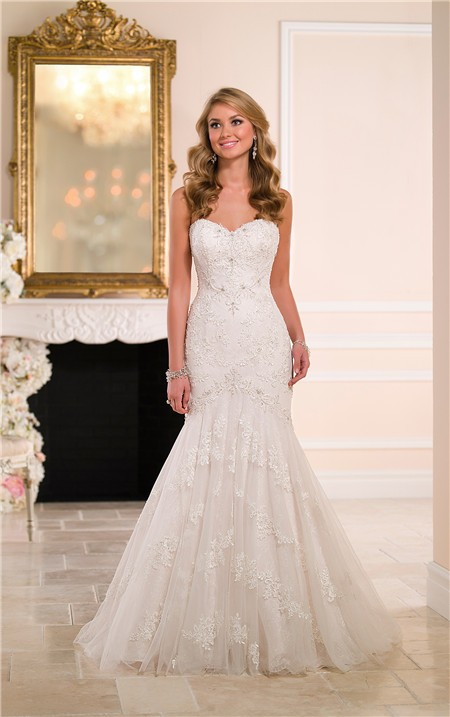 fit and flare strapless sweetheart lace beaded wedding