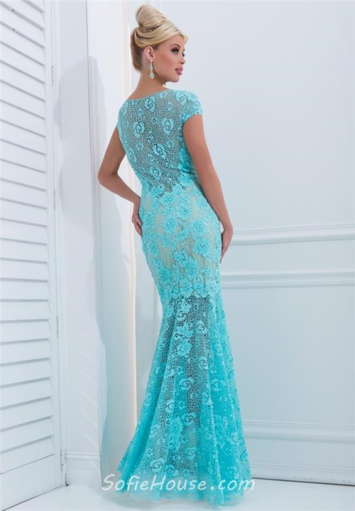 Blue Fit and Flare Prom Dresses