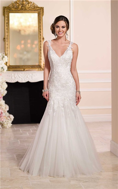 Fit and flare v neck open back venice lace tulle wedding for Fit and flare tulle wedding dress