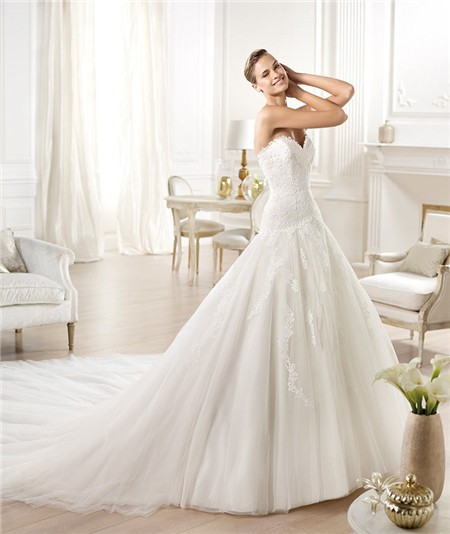 A Line Princess Sweetheart Lace Tulle Wedding Dress With Long Train