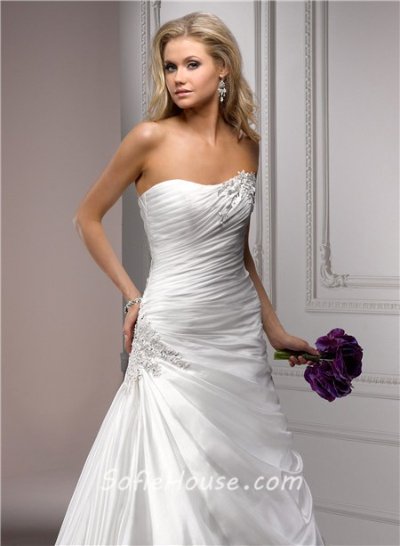 Fitted a line strapless corset back ruched organza wedding for Strapless bustier for wedding dress