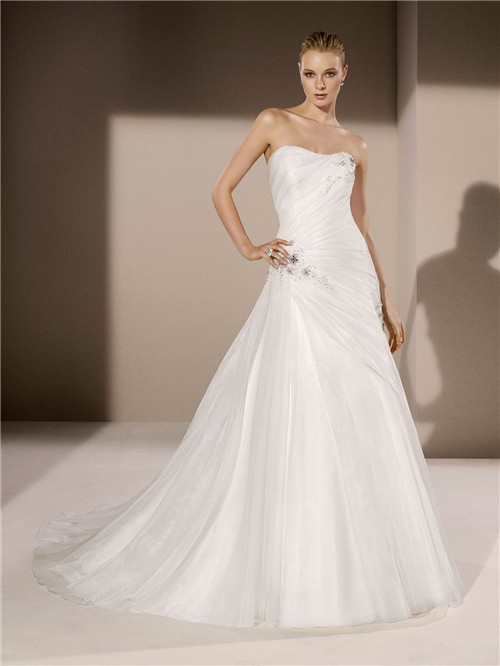 Fitted a line strapless draped organza applique beaded for Fitted strapless wedding dress