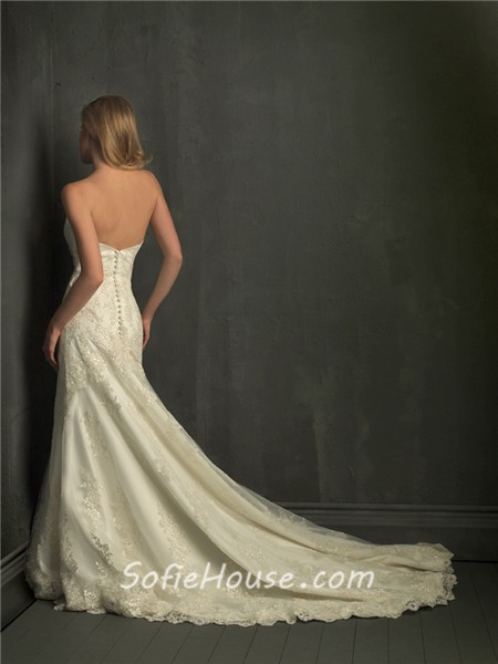 Fitted a line strapless lace garden wedding dress with for Lace sparkle wedding dress
