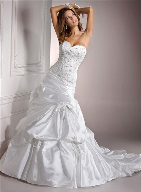 Wedding Dress Lace Corset Top : Fitted a line sweetheart beaded lace taffeta wedding dress