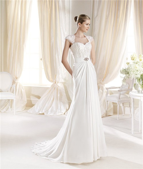 Sweetheart Wedding Dress With Cap Sleeves: Fitted A Line Sweetheart Cap Sleeve Lace Chiffon Wedding