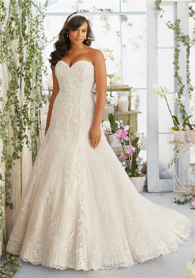 Fitted A Line Sweetheart Lace Beaded Plus Size Wedding