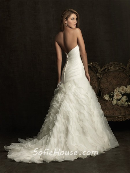 fitted a line sweetheart layer organza ruffle wedding