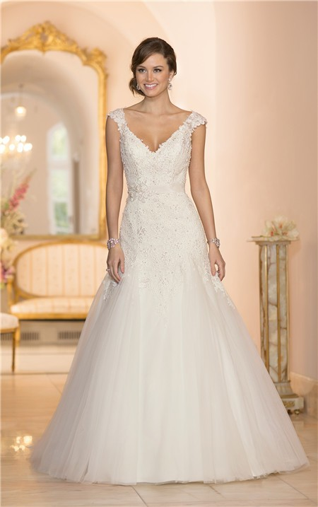 Fitted a line v neck cap sleeve tulle lace beaded wedding for Tulle a line wedding dress